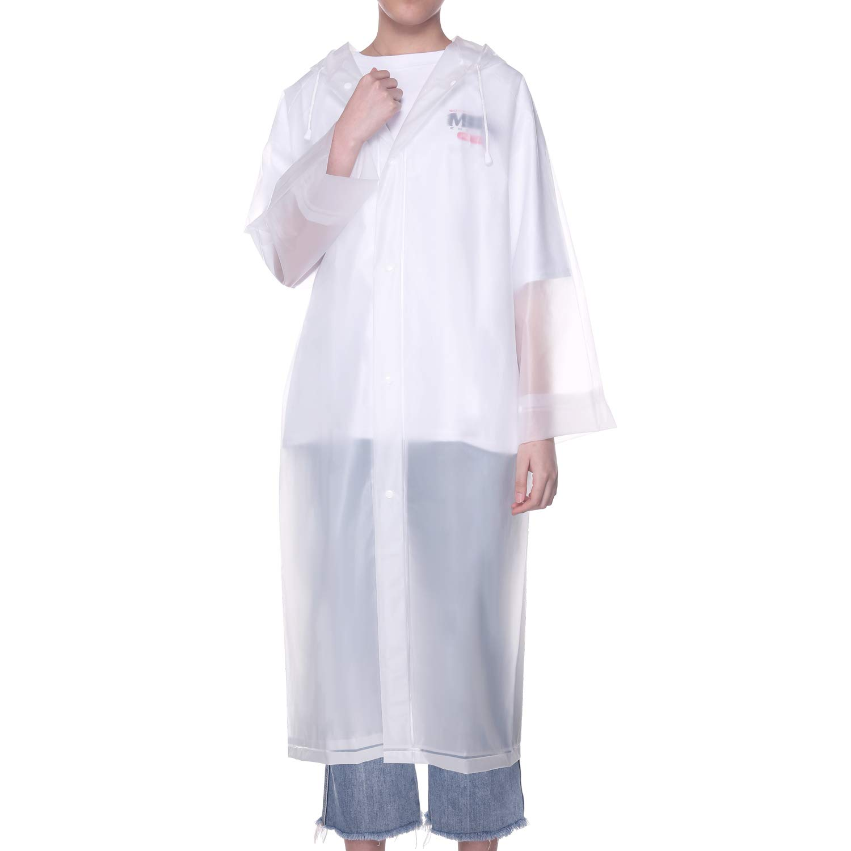UNIQUEBELLA EVA Raincoat Waterproof Rain Poncho Reusable Unisex Men Women Long Rain Cape (Z-White-Backpack, L) by UNIQUEBELLA