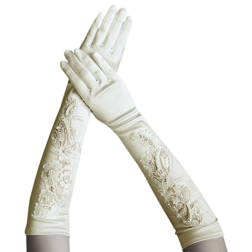 ZaZa Bridal Gorgeous Satin Gloves w/a Floral Embroidery Lace & Sequins Accents-Ivory