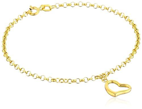 "14k Yellow Gold Heart Dangle Charm Bracelet, 7"""
