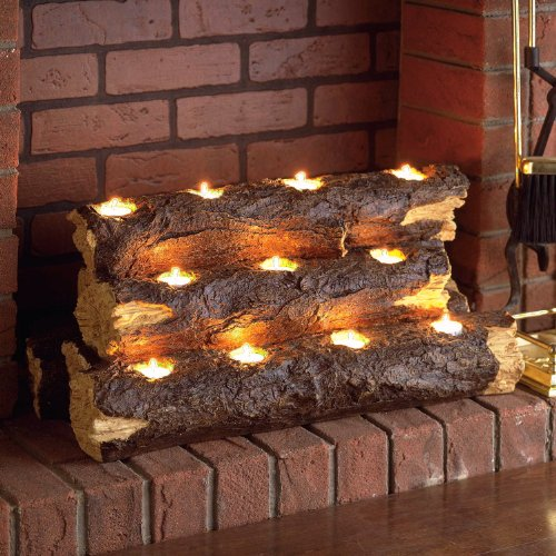 Fake Wood Burning Log for Candle Light