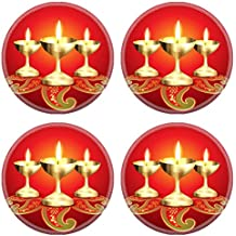 Liili natural rubber Round Coasters IMAGE ID: 15655882 beautiful golden diya on red background