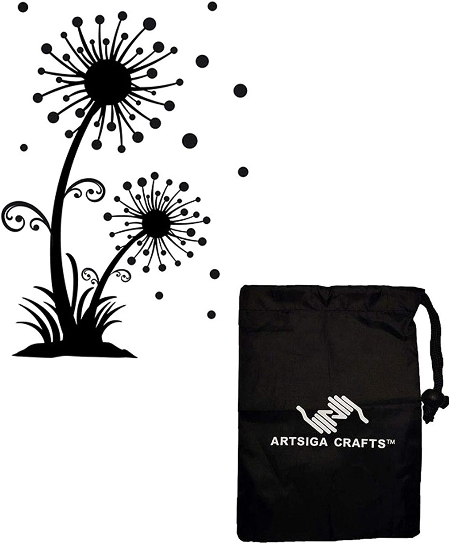 Darice Embossing Folders for Card Making Dandelion 4.5 x 5.75 1218-50 Bundle with 1 Artsiga Crafts Small Bag