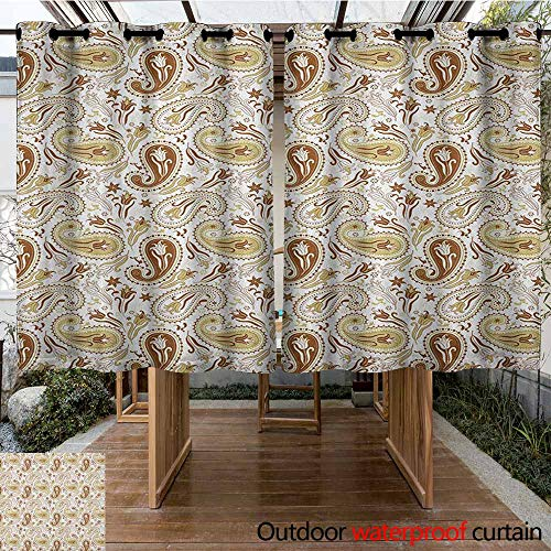 (AndyTours Outdoor Curtain Panel for Patio,Paisley,Floral Patterns with Paisley Inspired and Tulips Persian Hippie Art,Waterproof Patio Door Panel,K183C115 White Chocolate Umber)