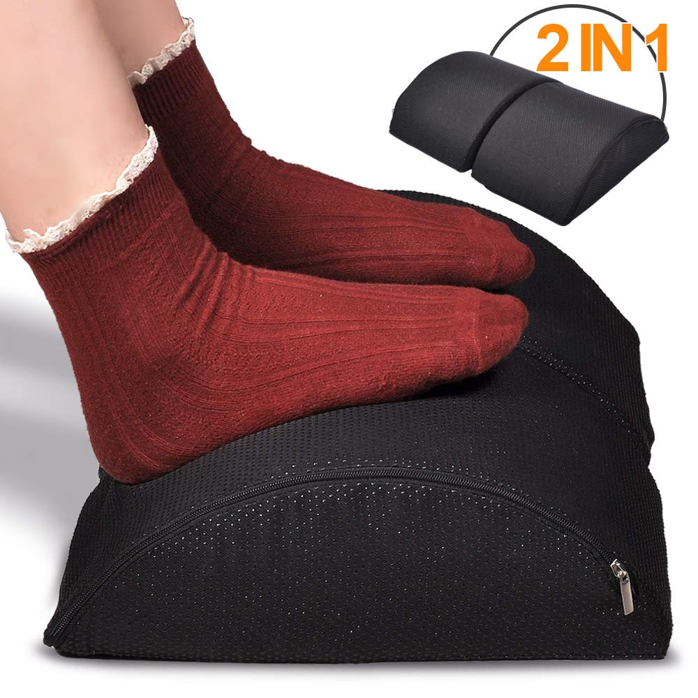 Hotokii Desk Foot Rest, Adjustable Under Desk Footrest 2 in 1 Non-Slip Ergonomic Office Foot Rest Stool Cushion Rocking for Feet Back Neck Support with Massaging Micro Beads for Office, Home, Plane