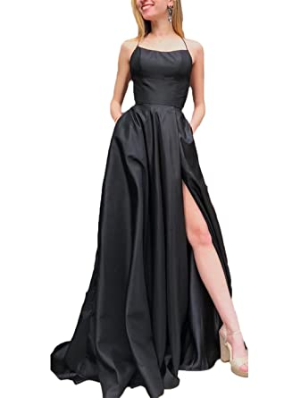 Z Sexy Spaghetti Strap Backless Side Slit Long Prom Dresses Formal Evening Party Gowns