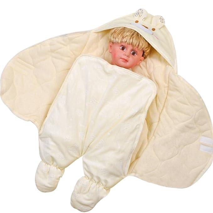 Drasawee - Manta de algodón para bebés con Pierna, Saco de Dormir para Invierno, cálida, antillama, Color Amarillo: Amazon.es: Ropa y accesorios