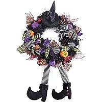 Guirlanda de Dia das Bruxas Decoração de Halloween Chapéu de Bruxa Pernas Abóbora Guirlanda de Porta Feliz Dia das…