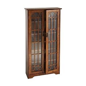 Window Pane Media Cabinet - CD & DVD Holder w/ Adjustable Shelves - Oak Finish