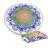 Polly House Large Round Beach Towel Blanket with Tassels Ultra Soft Super Water Absorbent Towel 59 inch across Multifunctional Purposes Blanket, Wash machine easy wash (116 Lotus)