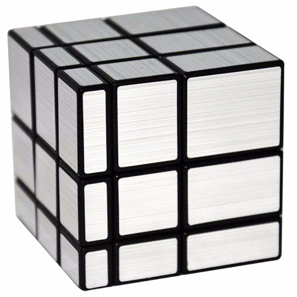 Espejo xx Puzzle Cubo LSMY Toy Negro Plata
