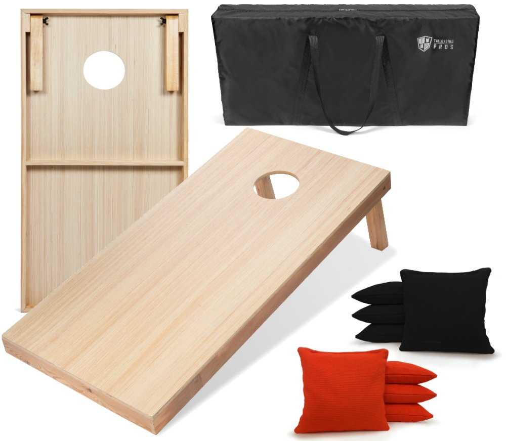 Tailgating Pros 4'x2' Woodgrain Finish Cornhole Boards w/Carrying Case & Set of 8 Cornhole Bags (You Pick Color) 25 Bag Colors! (Black/Orange) by Tailgating Pros