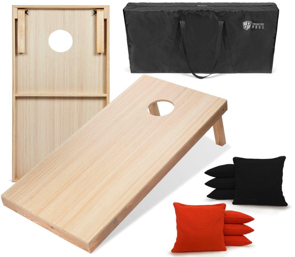 Tailgating Pros 4'x2' WoodGrain Finish Cornhole Boards w/Carrying Case & set of 8 Cornhole Bags (YOU PICK COLOR) 25 Bag Colors! (Black/Orange)