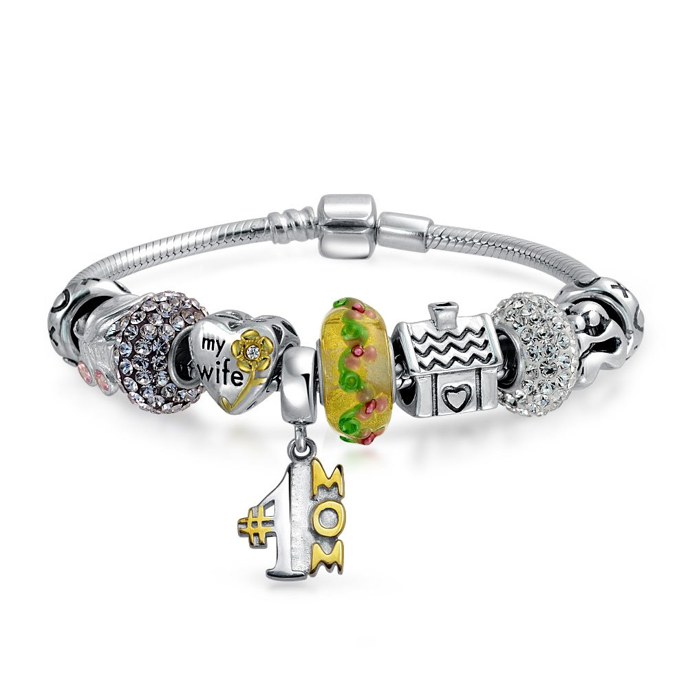 Bling Jewelry Sterling Silver Family Love Mother Charm Bracelet
