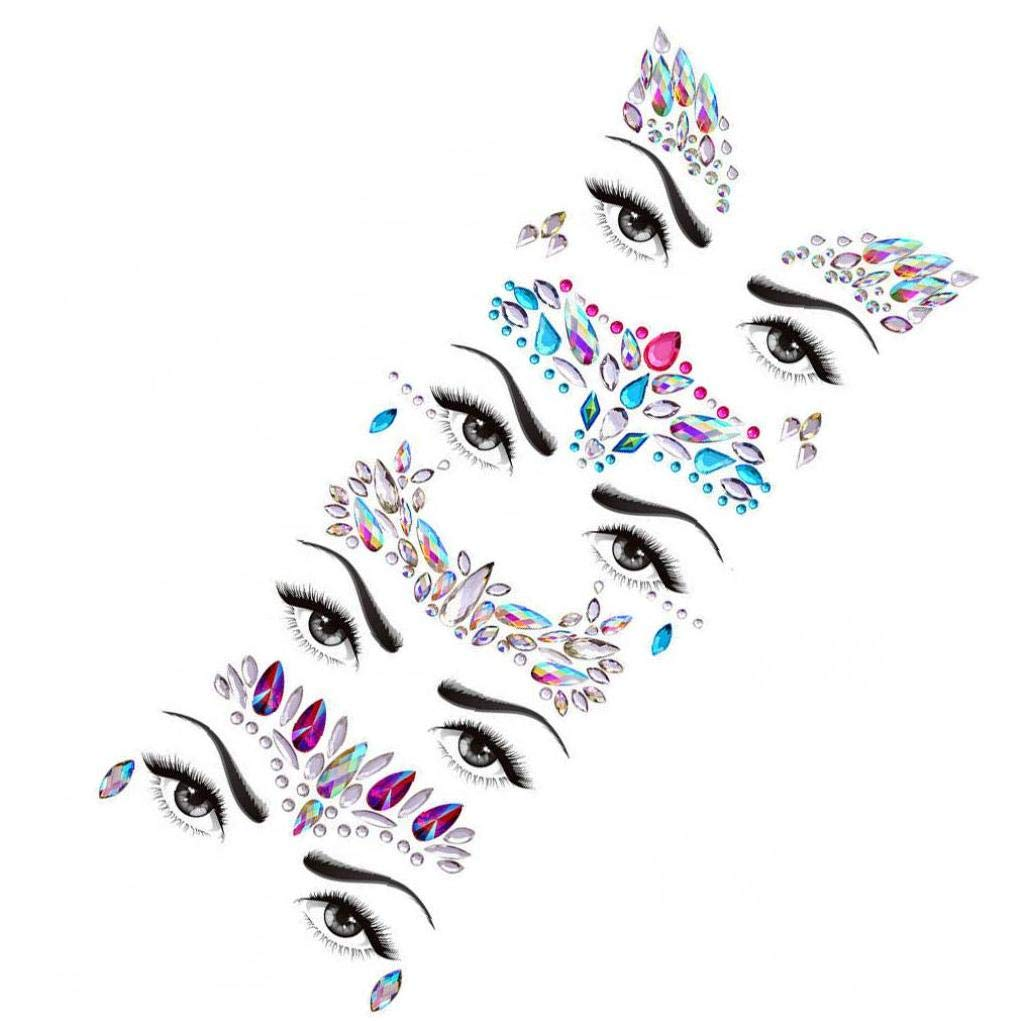Face Gems Stickers Body Jewelry Stickers Crystal Tattoo Stickers For Festival Rhinestone Decors Tattoo Stickers 05 Style