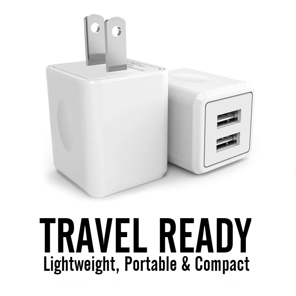 Amazon.com: Cargador, 2.1 A/5 V Universal doble puerto USB 2 ...
