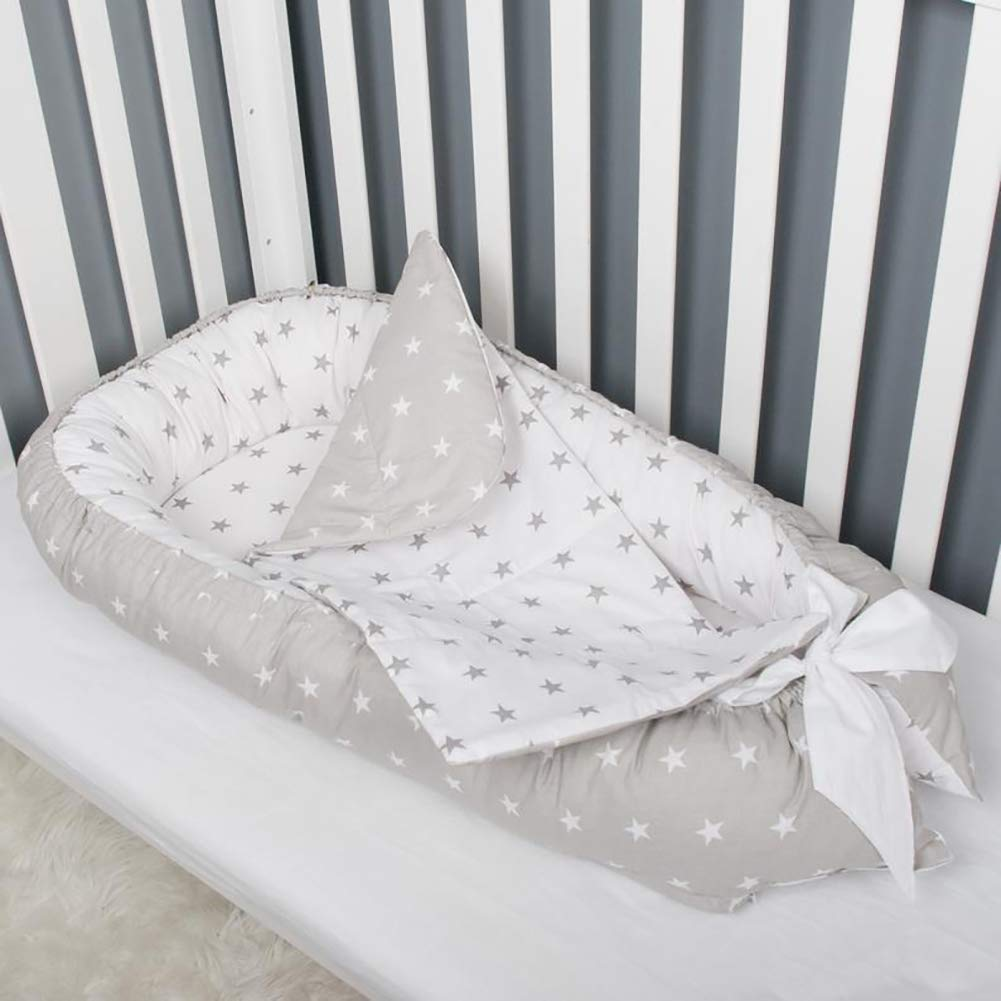 JHION Newborn Baby Lounger, Stars Portable Super Soft Cotton and Breathable Baby Nest with Mattress Perfect for Co-Sleeping by JHION