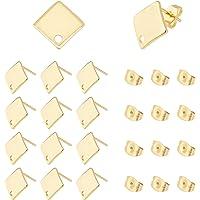 UNICRAFTALE ongeveer 50 stks Gouden Rhombus Stud Oorbellen 304 Rvs Oorstekers met Loop 0.8mm Pin Stud Oorbel Bevindingen…