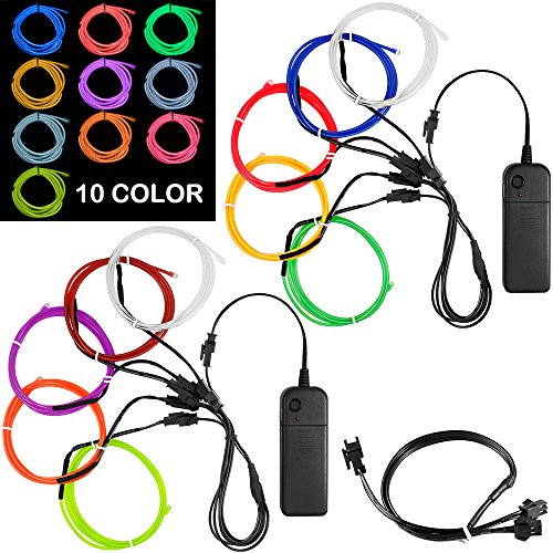 DanziX 10 Pack 3ft Portable EL Wire, Neon Light for Halloween Christmas Party Decoration Home Improvement - 10 Colors -