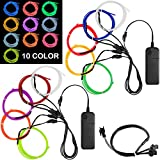 10 Pack 3ft EL Wire Kit, DanziX Portable El Wire Cable Decorate for Party, Car, Bike and Home Improvement - 10 Colors