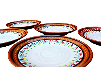 Terracotta White Small Dinner Plates Set of 5 (European Size) - Hand Painted From  sc 1 st  Amazon.com & Amazon.com | Terracotta White Small Dinner Plates Set of 5 (European ...
