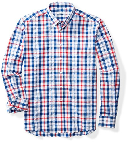 Classic Fit Plaid Shirt (Clifton Heritage Men's Big & Tall Classic Fit Long-Sleeve Plaid Button-Down Shirt 3X-Large Tall Dark Blue & Red Check)