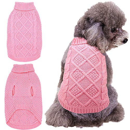 Mihachi Dog Sweater - Winter Coat Apparel Classic Cable Knit Clothes for Cold Winter,Pink,S