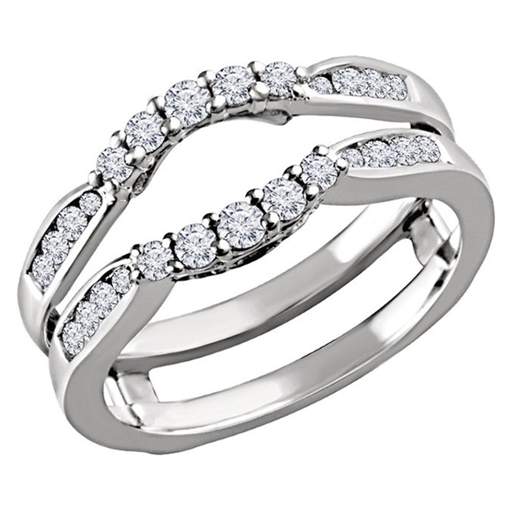 14K WHITE Gold Plated Sterling Silver SOLITAIRE ENHANCER REAL .50C Simulated Diamond RING GUARD WRAP WEDDING BAND DreamJewels Dreamjewels-0150