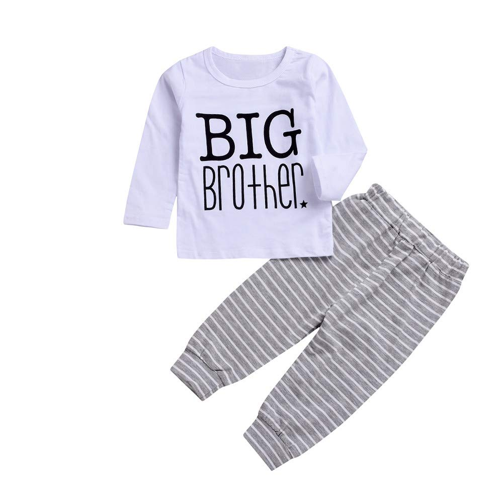 mxjeeio Baby Long Sleeve Brief drucken Big Brother Top T-Shirt + gestreiften Print Hosen Zweiteilige Set