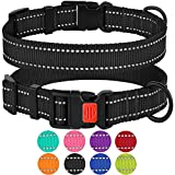 CollarDirect Reflective Dog Collar,SafetyNylon Collars Dogs Buckle,Outdoor Adjustable Puppy Collar Small Medium Large (Neck Fit 14″-18″, Black) Review