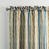 25 Sizes Available (Set of 1 panel) (42″ W x 84″L) Grommet Top Contemporary Print Multi Color Minimalist Striola Blackout Lining Window Treatment Draperies & Curtains Panels For Sale