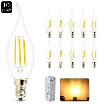 10 x 4 W E14 LED bombilla de filamento, mazorca Epistar 450 lm, color