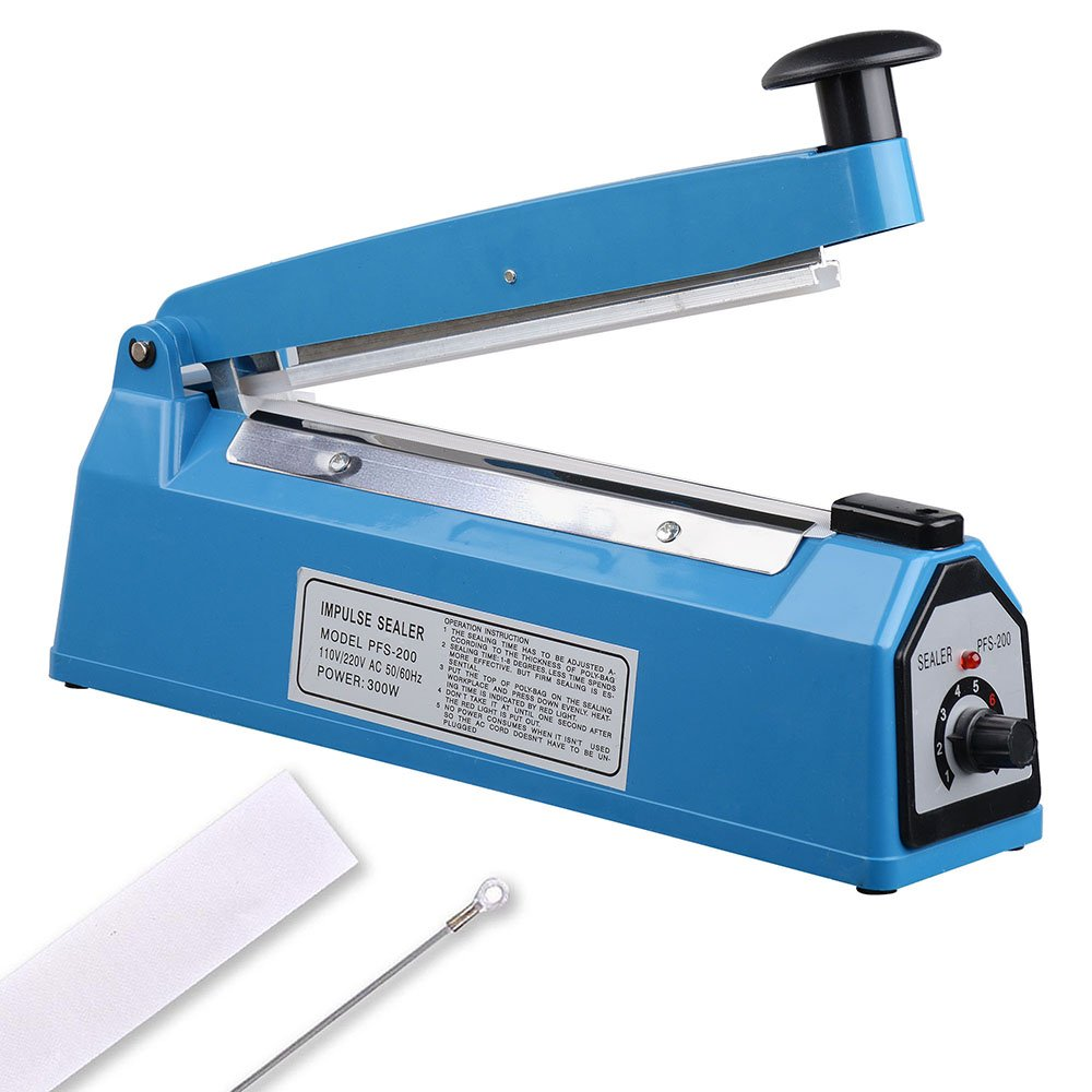 Yescom 8'' 200mm Impulse Manual Hand Sealer Heat Sealing Machine Poly Tubing Plastic Bag by Yescom (Image #1)