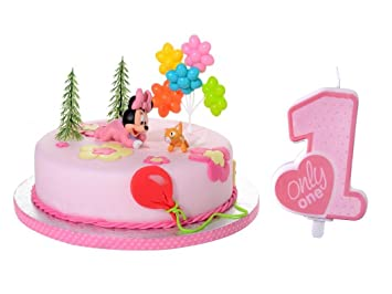 Tortendeko Set 1geburtstag Minnie Mouse Baby 6 Teiligtortenaufleger
