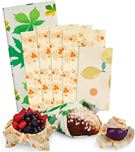 Beeswax Food Wraps 6 Pack, SUPERSUN Reusable Food Wraps, Eco-Friendly Organic Food Storage Wrappers, Sustainable and Washable Plastic-Free Sandwich Wraps – 3 Sizes (S, M, L)
