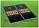 CORNHOLE BEANBAG TOSS GAME w Bags Game Boards Casino Lucky 7's Gold 903