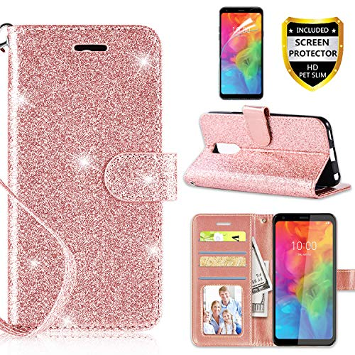 Casekey Compatible with LG Q7 Case LG Q7 Plus Case with [HD Screen Protector],[Kickstand] [Card Slots] [Wrist Strap] 2 in 1 Glitter Magnetic Flip PU Leather Wallet Cover,Rosegold