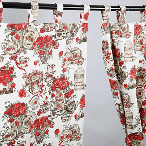 Floral Kitchen Curtains French Country Home Decor Shabby Chic Kitchen Curtains 2 Curtain Panels REd Kitchen Curtains Vintage Vase With Flowers English Roses
