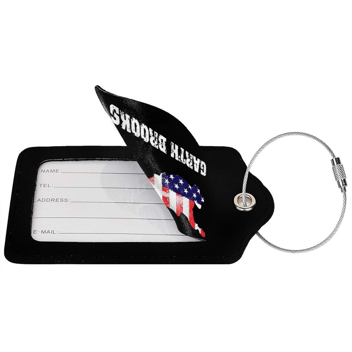 Garth Brooks Flag Leather Luggage Tag Travel ID Label For Baggage Suitcase