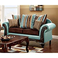 Furniture of America Wuni Loveseat in Teal and Brown