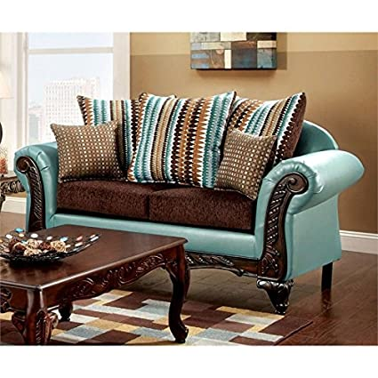 Amazon.com: Furniture of America Wuni Loveseat in Teal and ...