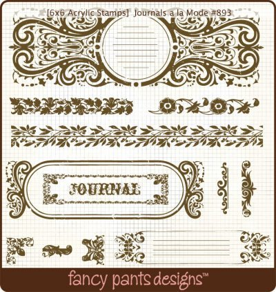 Fancy Pants 6 Inch by 6 Inch Acrylic Stamp-Journals A La Mode