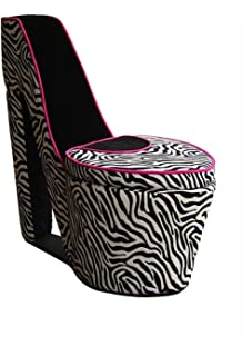 ORE Chair With Storage, High Heel Design, Red And Black Zebra
