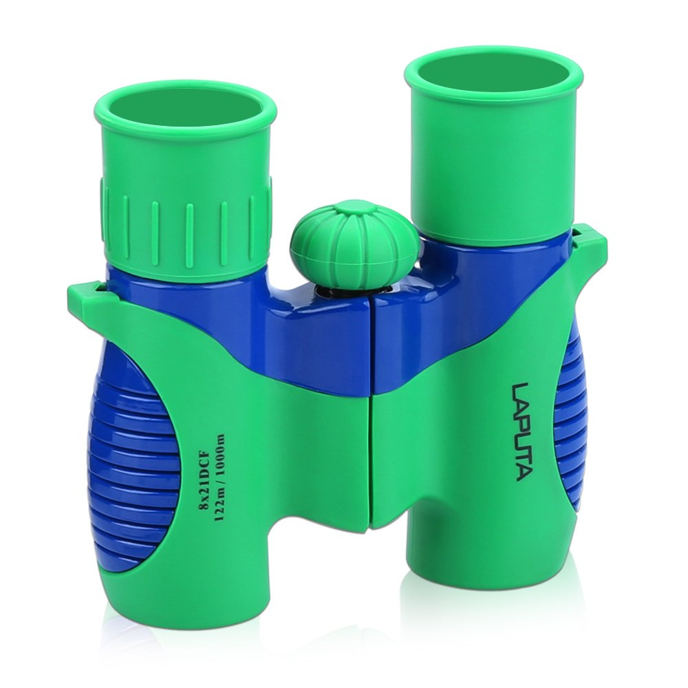 Binoculars for Kids 8x21 Set by LAPUTA Shock Proof - Bird Watching - Educational Learning - Birthday Gift - Prism Coating and High Resolution - Hiking - Outdoor - Boy and Girl Toys