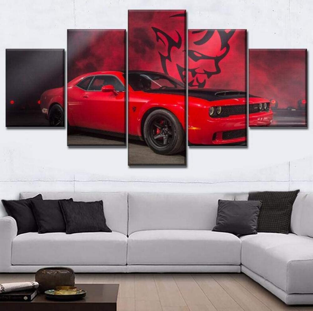 Wall Art 5 Pieces Red Muscle Car Dodge Challenger Painting Wall Art Print Poster Modern Canvas Home Decor (Size 3) Frameless