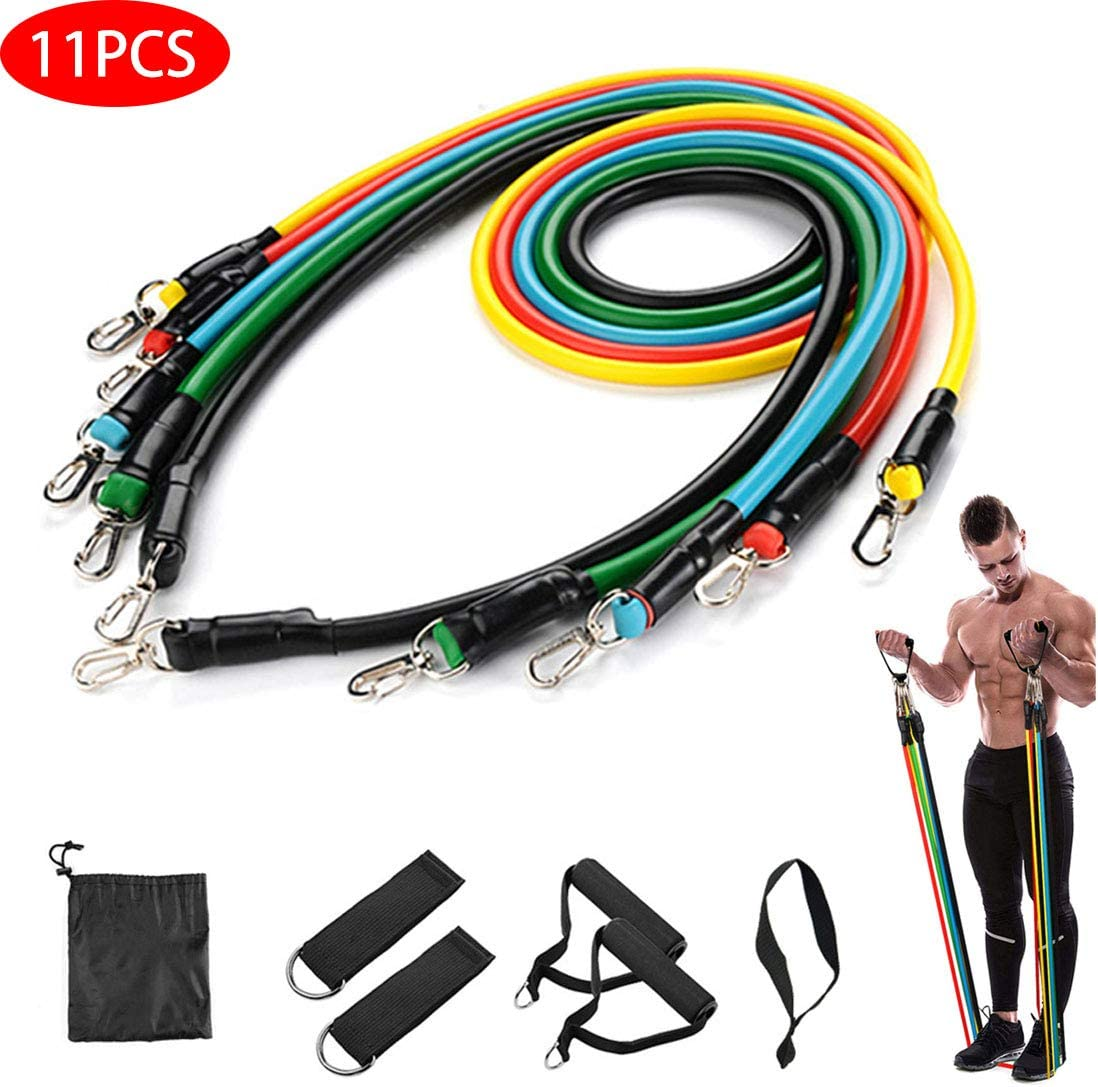 Exercise Bands Workout Ropes 11pcs 100lb with Carrying Bag for Women /& Men Home Gym for Yoga Home Workouts Physical Therapy Pilates RHFITNESS Resistance Bands Set Resistance Training