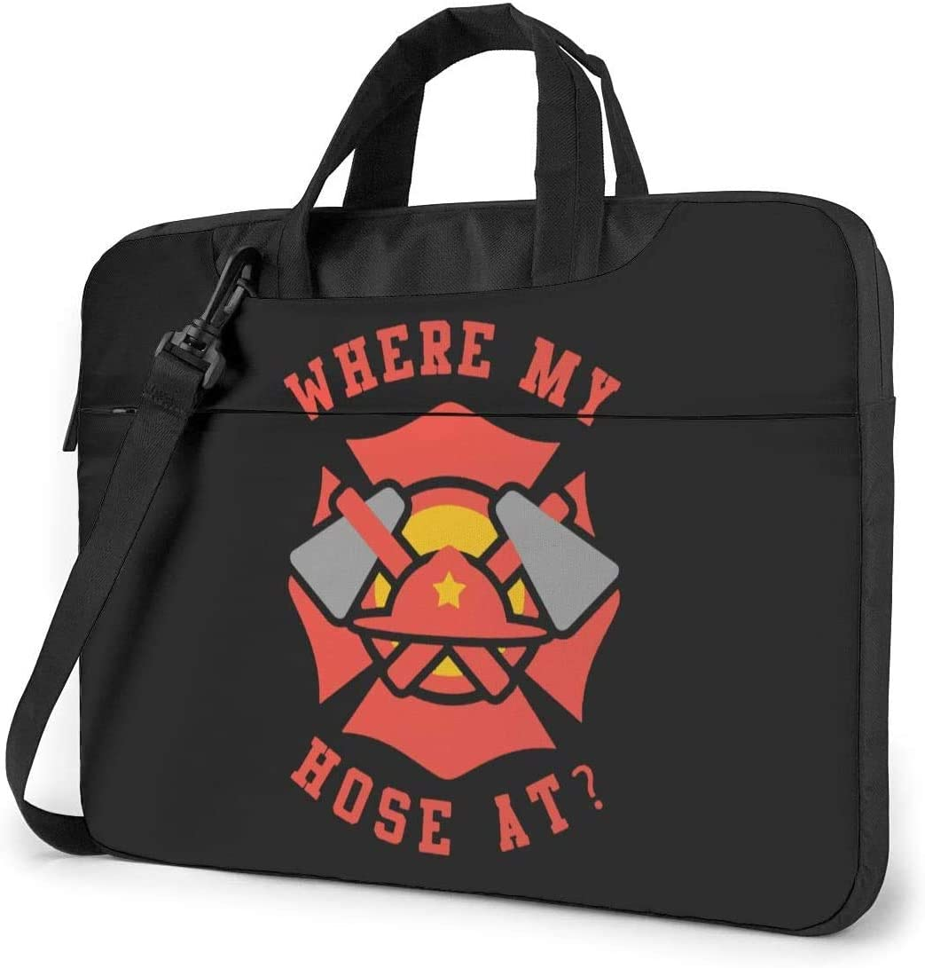 Where My Hose at Fireman Shockproof Laptop Shoulder Messenger Bag Laptop Case Sleeve Laptop Briefcase Business Handbag