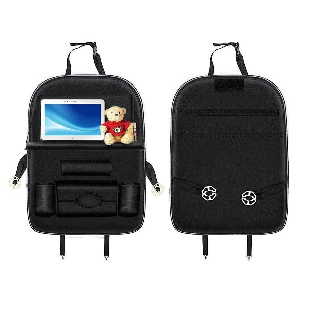 verstellbar tragbar Taschen-Aufbewahrung mit 7 Taschen und faltbarer Esstisch-Halterung Kick-Mats Auto R/ücksitz-Organizer aus PU-Leder multifunktional