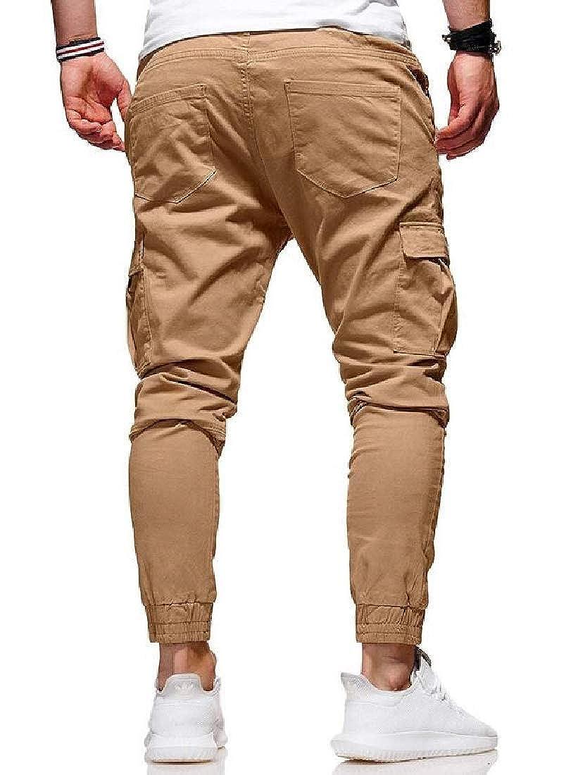 BYWX Men Multi-Pockets Loose Fit Casual Drawstring Waist Jogger Cargo Denim Pants Jeans