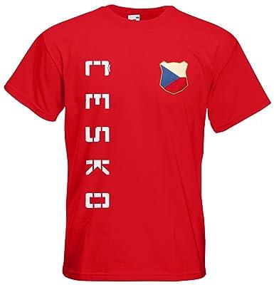 Tschechien Cesko EM 2016 T-Shirt Trikot Name Nummer (Rot, S)