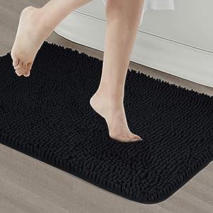 Secura Housewares Soft Microfiber Bathroom Rugs, 20 x 32 Inches Non Slip Bath Mat for Door, Bathroom & Bedroom with Water Absorbent, Machine Washable (Black)
